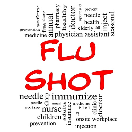 Flu Shot Word Cloud Concept in red and black letters with great terms such as needle, prevention, inject, medicine and more. photo