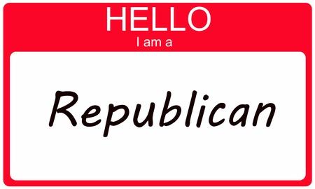 Hallo ik ben een Republikein op een rode sticker naamplaatje.