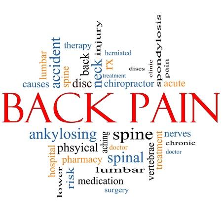 bol: Słowo Back Pain Concept Chmura wielkimi terminów takich jak szkody, lędźwiowych, kręgosłupa, leczenie, tarcze i inne. Zdjęcie Seryjne