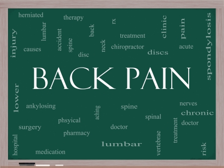 Back Pain Word Cloud Concept on a Blackboard with great terms such as injury, lumbar, spine, treatment, discs and more.