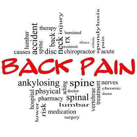 buchr�cken: Back Pain Word Cloud Konzept in schwarz und roten Buchstaben mit gro�er Begriffe wie Verletzungen, Lenden-, Wirbels�ule, Behandlung, Scheiben und vieles mehr.