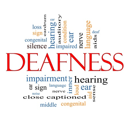 deaf: Deafness Word Cloud Concept with great terms such as nerve, deaf, hearing, ear, aid, silence and more