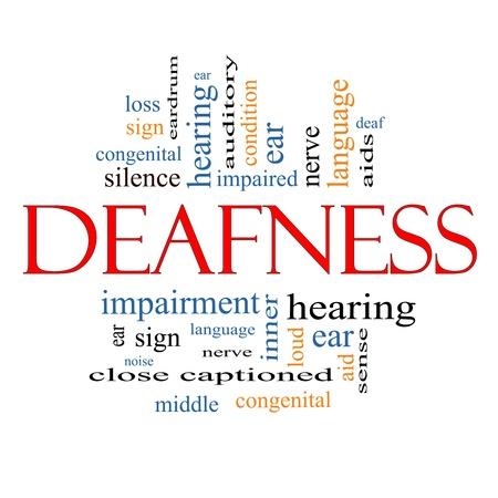 Doofheid Word Cloud Concept met grote termen als zenuw-, doof, horen, oor, hulp, stilte en meer Stockfoto - 15028435