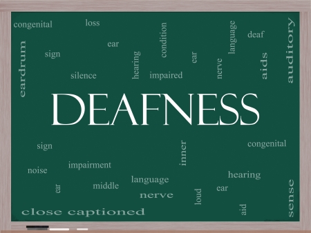 deafness: Deafness Word Cloud Concept on a Blackboard with great terms such as nerve, deaf, hearing, ear, aid, silence and more