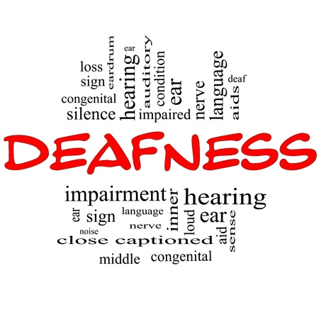 Deafness Word Cloud Concept in red and black letters with great terms such as nerve, deaf, hearing, ear, aid, silence and more  Stock Photo