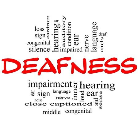 Sordità Nube Concetto Word in lettere rosse e nere con termini del calibro di nervi, sordo, l'udito, l'orecchio, l'aiuto, il silenzio e la più Archivio Fotografico - 15028433