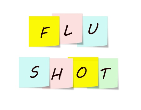 Flu Shot on Colorful Sticky notes making a great reminder concept  Stock Photo - 15028427