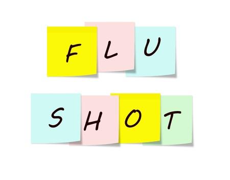 gripe: Vacuna contra la gripe en coloridas notas adhesivas que hacen un gran recordatorio concepto