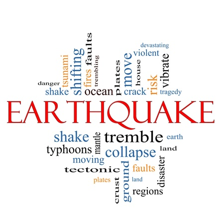 tremble: Earthquake Word Cloud Concept with great terms such as shake, tremble, plates, earth, land and more  Stock Photo