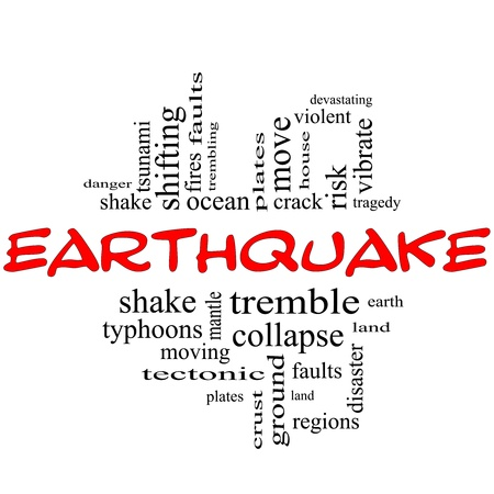 quake: Earthquake Word Cloud Concept in red and black letters with great terms such as shake, tremble, plates, earth, land and more  Stock Photo