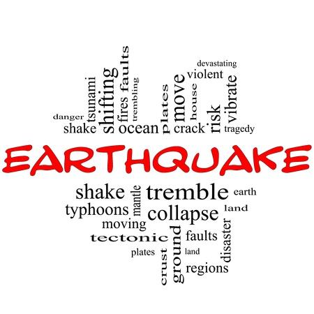 letras negras: Palabra Nube Concepto Terremoto en letras de color rojo y negro con grandes t�rminos tales como vibraci�n, temblor, placas, tierra, tierra y m�s