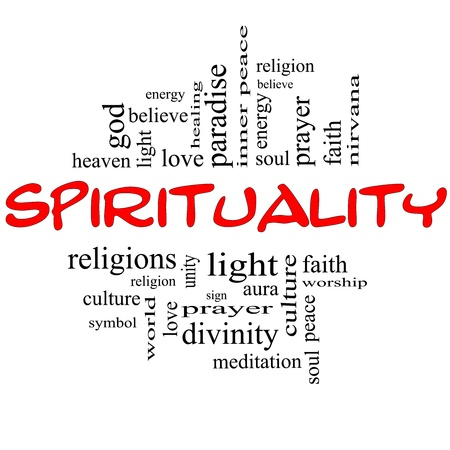 Spirituality Word Cloud Concept in red and black letters with great terms such as religion, light, prayer, soul and more Stock Photo - 15028430