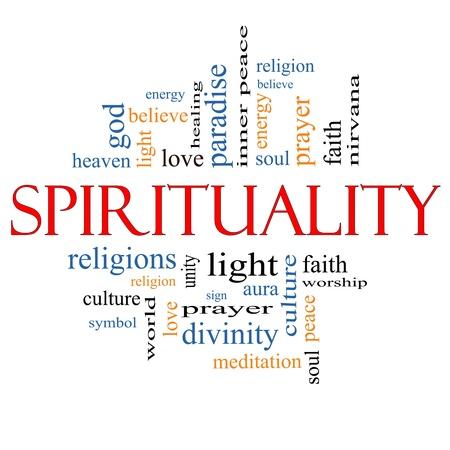 Spiritualiteit Word Cloud Concept met grote termen als religie, licht, gebed, ziel en meer