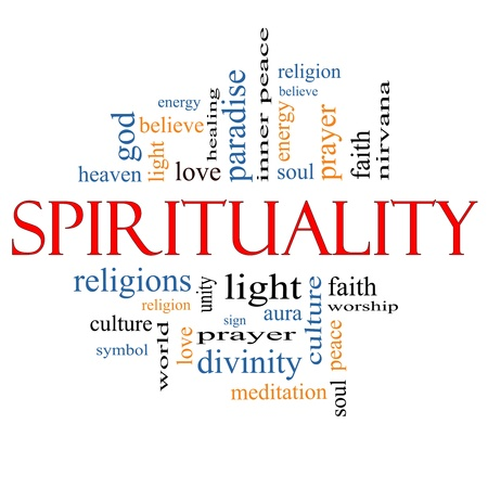 Spirituality Word Cloud Concept with great terms such as religion, light, prayer, soul and more