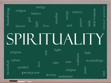 paz interior: Palabra Nube Concepto Espiritualidad en una pizarra con t�rminos de calidad, como la religi�n, la luz, la oraci�n, el alma y m�s
