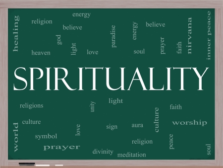 Spirituality Word Cloud Concept on a Blackboard with great terms such as religion, light, prayer, soul and more