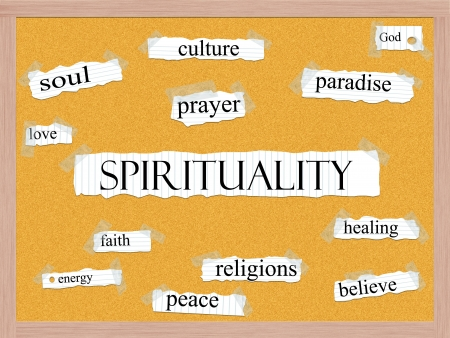 Spirituality Corkboard Word Concept with great terms such as needle, immunize, prevention, inject and more  Stock Photo - 15028460