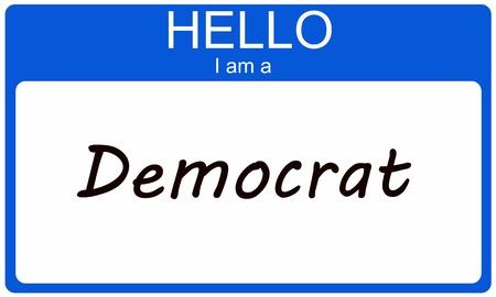 Hallo ik ben een Democraat op een blauwe sticker naamplaatje