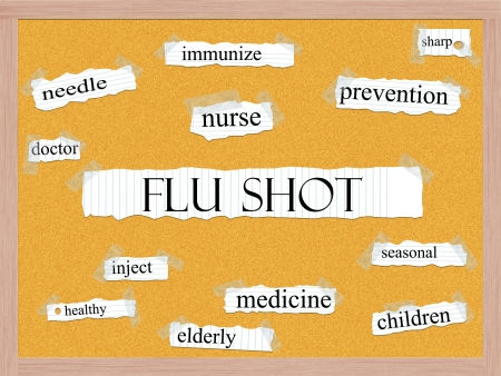 Flu Shot Corkboard Word Concept with great terms such as needle, immunize, prevention, inject and more  Stock Photo