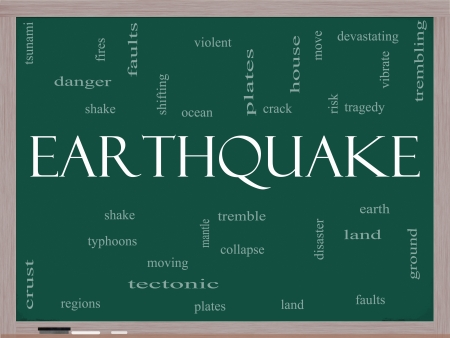 tremble: Earthquake Word Cloud Concept on a Blackboard with great terms such as shake, tremble, plates, earth, land and more