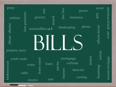 initial public offering: Bills Word Cloud Concept on a Blackboard with great terms such as medical, mortgage, past due, pay, taxes and more. Stock Photo