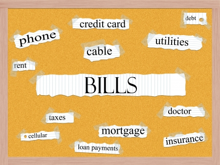Bills Corkboard Word Concept with great terms such as phone, cable, mortgage, utilities and more. Stock Photo - 15028462