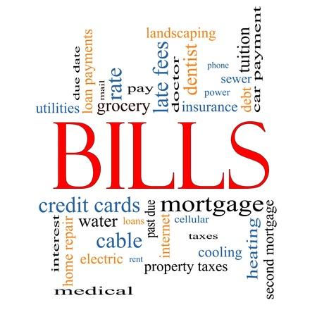 factura: Bills nube de la palabra Concept con t�rminos de calidad, como m�dico, hipoteca, m�s all� de pago debido, impuestos y mucho m�s. Foto de archivo