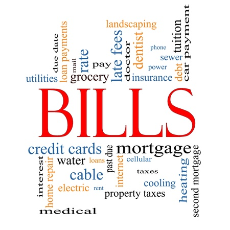 Bills Word Cloud Concept with great terms such as medical, mortgage, past due, pay, taxes and more.