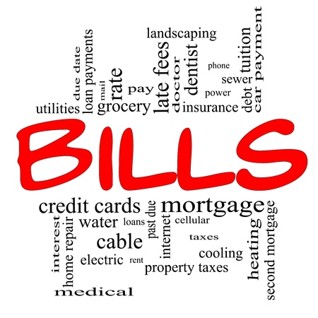 Bills Word Cloud Concept in red and black letters with great terms such as medical, mortgage, past due, pay, taxes and more. Stock Photo