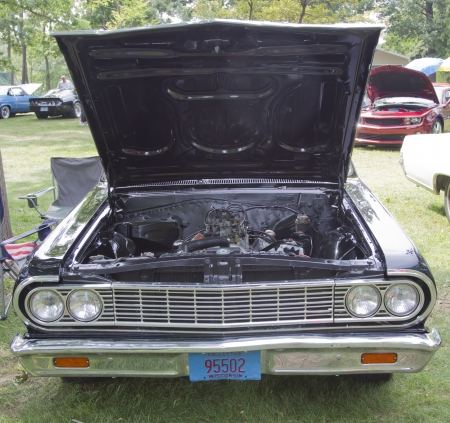 WAUPACA, WI - AUGUST 25: Front view of a 1964 Chevy El Camino car at the 10th Annual Waupaca Rod & Classic Car Club Car Show on August 25, 2012 in Waupaca, Wisconsin. Stock Photo - 15078200