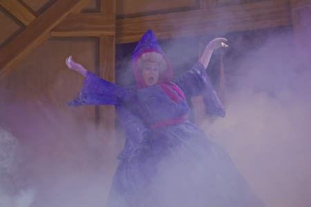 GREEN BAY, WI - FEBRUARY 10: Cinderella's Fairy Godmother arrives ina  cloud of smoke at the  Disney Princesses show at the Resch Center on February 10, 2012 in Green Bay, Wisconsin. 報道画像
