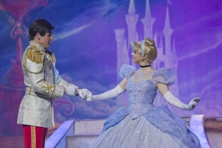 prince charming: GREEN BAY, WI - FEBRUARY 10: Cinderella in her pretty ball gown meeting Prince Charming at the Disney Princesses show at the Resch Center on February 10, 2012 in Green Bay, Wisconsin. Editorial