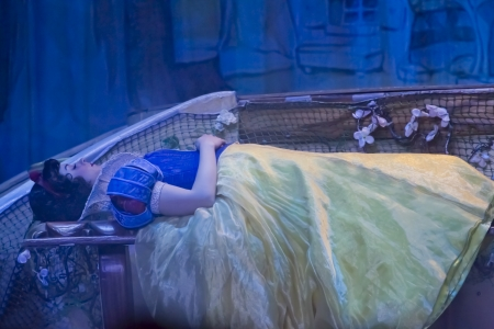 GREEN BAY, WI - FEBRUARY 10: Pretty Snow White asleep after biting the apple in her blue & yellow dress at the Disney Princesses show at the Resch Center on February 10, 2012 in Green Bay, Wisconsin.