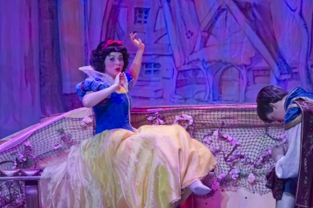 prince charming: GREEN BAY, WI - FEBRUARY 10: Pretty Snow White awakens after kissing Prince Charming in her blue & yellow dress at the Disney Princesses show at the Resch Center on February 10, 2012 in Green Bay, Wisconsin. Editorial
