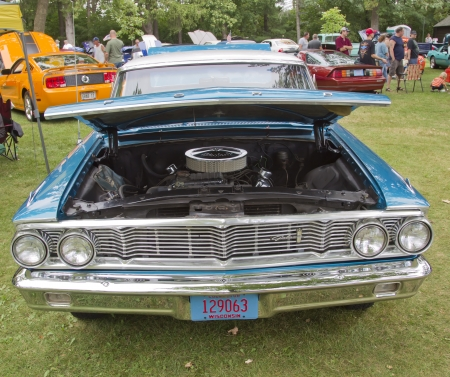 WAUPACA, WI - AUGUST 25: Front of 1964 Ford Galaxie car at the 10th Annual Waupaca Rod & Classic Car Club Car Show on August 25, 2012 in Waupaca, Wisconsin.