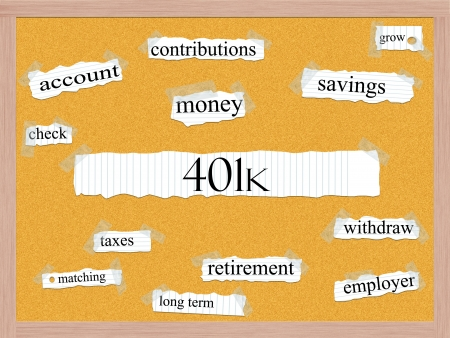 contributions: 401k Corkboard Word Concept with great terms such as account, retirement, savings, money and more.