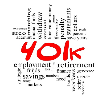 401k Word Cloud Concept in red and black letters with great terms such as retirement, account, stocks, bonds and more. photo