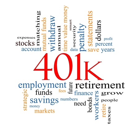 401k Word Cloud Concept with great terms such as retirement, account, stocks, bonds and more. Stock Photo