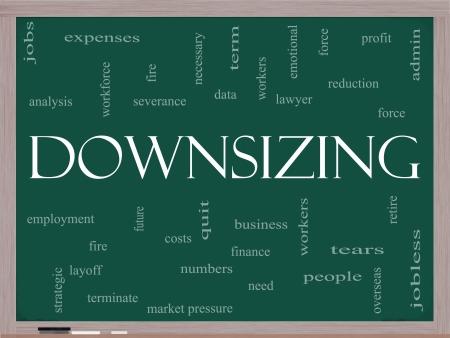 severance: Downsizing Concepto nube de la palabra en una pizarra con grandes t�rminos, tales como incendios, despido, terminar, despido y m�s.