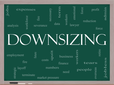 severance: Downsizing Word Cloud Concept on a Blackboard with great terms such as fire, layoff, terminate, severance and more. Stock Photo
