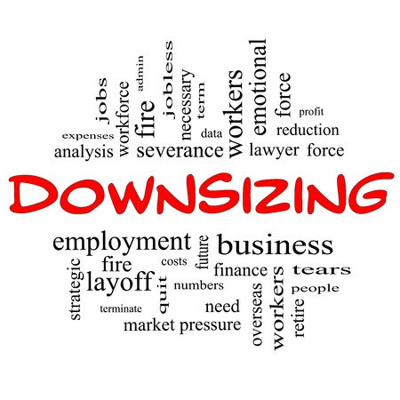 severance: Downsizing Word Cloud Concept in red and black letters with great terms such as fire, layoff, terminate, severance and more. Stock Photo