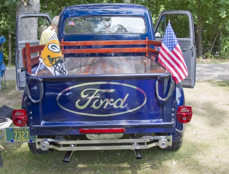 WAUPACA, WI - AUGUST 25:  Back of 1954 Ford F100 Truck at the 10th Annual Waupaca Rod & Classic Car Club Car Show on August 25, 2012 in Waupaca, Wisconsin. Editorial
