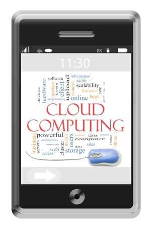 Cloud computing Word Cloud Concept of Touchscreen Phone with great terms such online, storage, future as and more. Stock Photo - 15134250