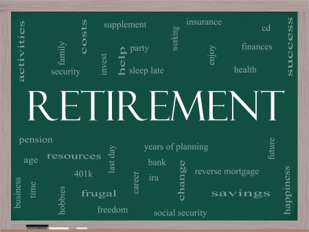 Retirement Word Cloud Concept on a Blackboard with great terms such as security, pension, savings, future, enjoy and more.