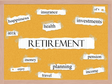 Retirement Corkboard Word Concept with great terms such as happiness, pensin, enjoy, money and more. Stock Photo - 15134321