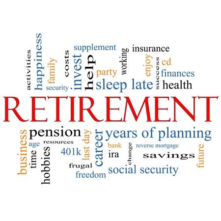 planificacion familiar: Palabra Nube Concepto de Retiro con grandes términos como seguridad, pensiones, ahorro, futuro, disfrutar y mucho más.