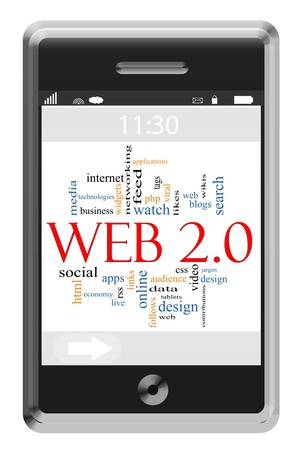 css: Web 2.0 Word Cloud Concept of Touchscreen Phone with great terms such as media, business, feed, watch and more. Stock Photo