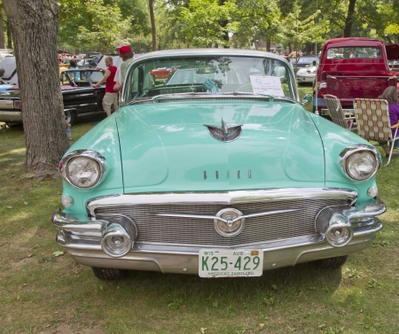 WAUPACA, WI - AUGUST 25: Front of Aqua blue 1956 Buick car at the 10th Annual Waupaca Rod & Classic Car Club Car Show on August 25, 2012 in Waupaca, Wisconsin. Editorial