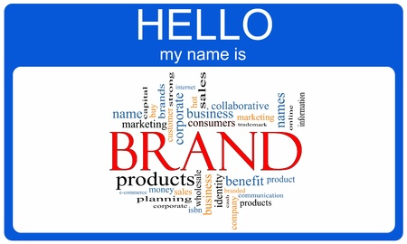 nametag: Brand Word Cloud Nametag Concept with terms such as products, consumer, marketing and more.