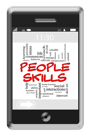 People Skills Word Cloud Concept of Touchscreen Phone with great terms such as communicate, skill, set and more. Stock Photo - 15498154